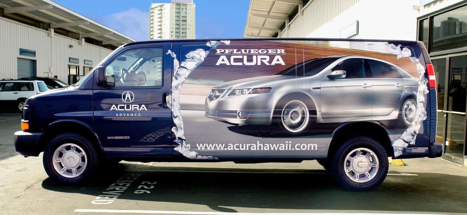 Pflueger Acura Parts Delivery Van Wrap - Discount acura parts